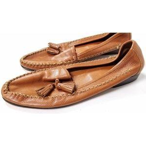 Cole Haan Ladies Brown Leather Tassel Flat Shoes
